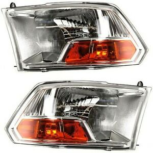 Headlight Set For 2011 2012 Ram 1500 Driver And Passenger Side W Bulb