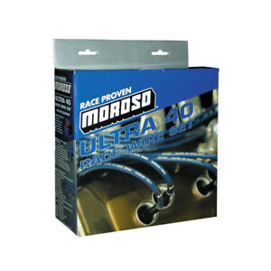 Moroso Spark Plug Wire Set 73602 Ultra 40 Sleeved 8 65mm Blue For Small Blocks
