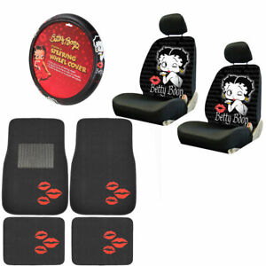 New Betty Boop Kiss Car Front Back Floor Mats Seat Covers Steering Wheel Cover