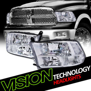 For 09 18 Dodge Ram 1500 2500 3500 Quad Chrome Headlight Parking Signal Lamps Nb
