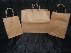 Wholesale 100 Natural Brown Set Of 8x14 16x12 Paper Shopping Gift Bags