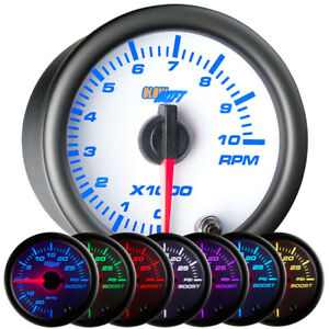 52mm 2 1 16 White 7 Color Glowshift Tach Tachometer Gauge W Clear Lens