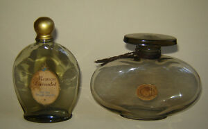 2 Old Vintage Art Deco Scent Perfume Bottle Smoked Glass Mouson Lavendel Germany