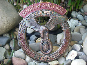 Superb Vintage German Motorclub Wiesbaden Winter Rallye 1956 Car Grille Badge