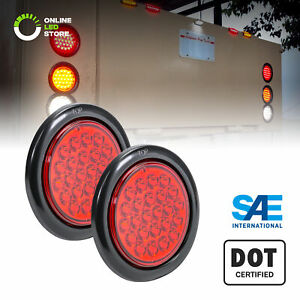 2pc Ols 4 Inch Round Red 24 Led Turn Stop Brake Trailer Tail Light For Truck Rv