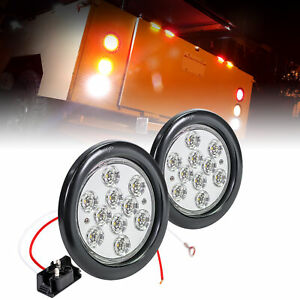2pc Ols 4 Inch Round Led Reverse Back Up Trailer Tail Light For Trucks Jeep Rv