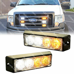 2pc 4w Amber White Led Strobe Warning Grille Lights For Cars Emergency Vehicles