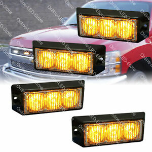 4pc 3w Amber Led Strobe Warning Grille Lights For Cars Trucks Emergency Vehicles
