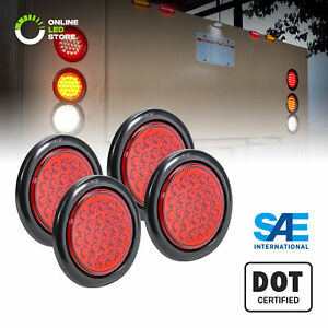 4pc 4 Red Round 24 Led Truck Rv Trailer Tail Lights Turn Stop Brake Waterproof