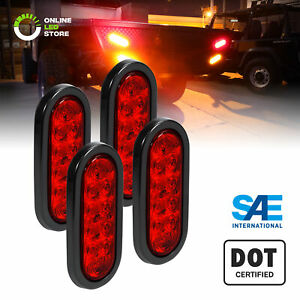 4pc 6 Red Oval Led Rv Truck Trailer Tail Lights Turn Stop Brake Ip67 Waterproof