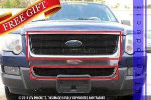 Gtg 2006 2010 Ford Explorer 2pc Gloss Black Overlay Combo Billet Grille Kit