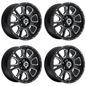 Set 4 20 Vision 399 Fury Black Milled Rims 20x9 5x5 12mm Jeep Gmc Chevy 5 Lug