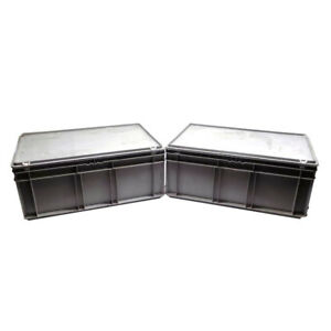 lot Of 2 Schaefer Ef6240 Shipping Containers 24 X 16 X 10 Gray Abs Plastic