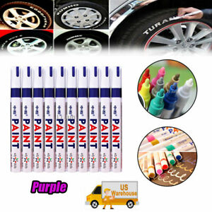 12x Waterproof Car Tire Marker Pen Tyre Tread Rubber Permanent Paint Purple