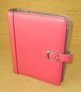 Classic desk 1 125 Rings Pink brown Leather Day timer Open Planner binder
