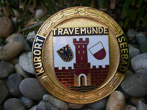 Vintage German L beck Travem nde Seebad Kurort Enamel Car Badge Germany