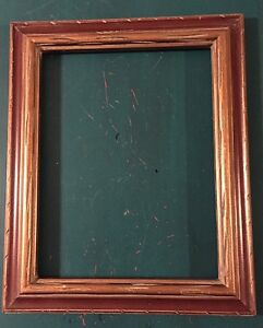 Vintage 60s 70s Mexican Hand Carved Mid Century Gold Wood Frame Opening 10 X 13