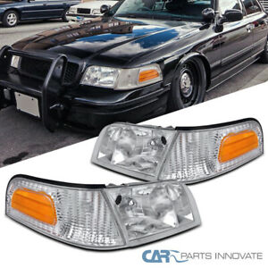 For 98 11 Ford Crown Victoria Clear Headlights corner Turn Signal Lamps Pair