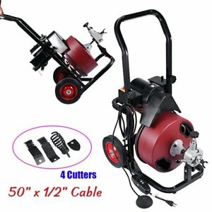50ft Electric Power Machine Auger Cable Drain Cleaner Clog Snake Pipe Sewer Tub