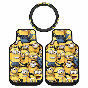 3pc Despicable Me Minion Made Rubber Front Floor Mats Steering Wheel Cover Set