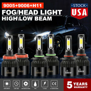 Combo Cree 9005 H11 9006 Led Headlight 3900w 685000lm Kit Hi lo Bulbs 6000k Tf