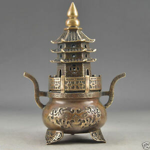 Brass Buddha Exorcism Handwork Hammered Pagoda Totem Incense Burner