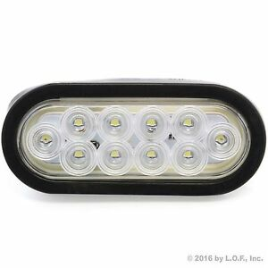 6 Oval Clear White Led Reverse Back Up Light Surface Mount Trailer Truck
