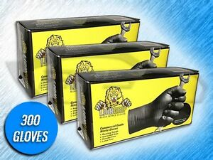 300 Lion Grip 7 Mil Heavy Duty Black Textured Nitrile Gloves choose Size
