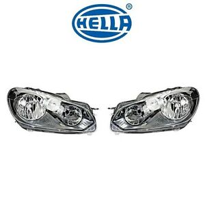 For Vw Gti Golf 10 14 Pair Set Of 2 Front Halogen Headlights Assembly Oem Hella