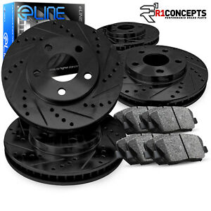 Front rear Eline Series Black Drilled Slotted Brake Rotors Ceramic Pads A308