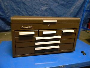 Kennedy 6 Drawer Tool Storage Chest Box Case Steel Brown Wrinkle 266b
