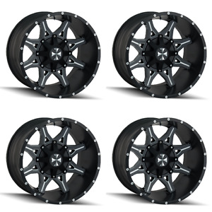 Set 4 20 Cali Offroad Obnoxious 9107 Black Milled Rims 20x9 6x5 5 0mm Gmc 6 Lug
