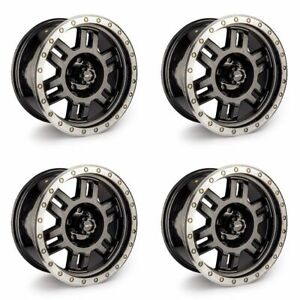 Set 4 15 Vision 398 Manx Black Machine Wheels 15x8 6x5 5 19mm 6 Lug Truck Rims