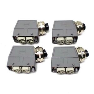 4 Harting Han Connector Pc gf 20 Female Connectors 20 Pin Side Entry Housing