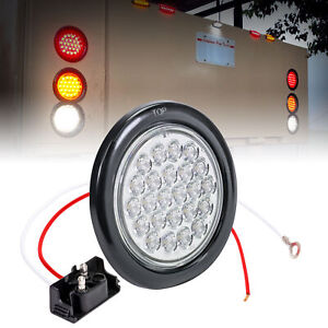 Dot Submersible White 4 Round 24 Led Trailer Tail Light Kit W Grommet