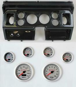 80 86 Ford Truck Carbon Dash Carrier W 3 3 8 Concourse Series Silver Gauges