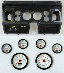 80 86 Ford Truck Carbon Dash Carrier W 3 3 8 Concourse Series White Gauges