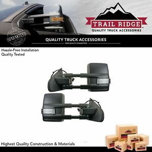 Trail Ridge Tow Mirror Power Folding Heated Signal Spotlight Chrome Pair For Gm