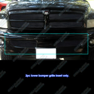Fits 1999 2001 Dodge Ram Sport Black Lower Bumper Billet Grille Insert