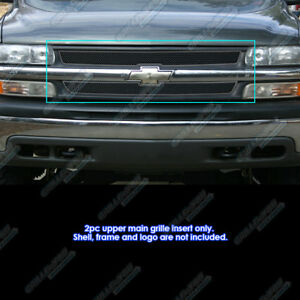 For 1999 2002 Chevy Silverado 1500 00 06 Suburban Stainless Black Mesh Grille