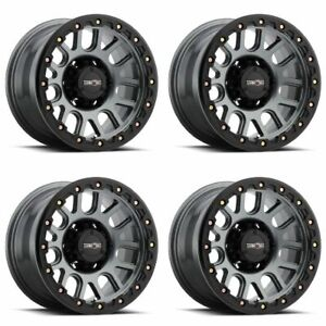 Set 4 17 Vision 111 Nemesis Gunmetal Wheels 17x9 6x5 5 12mm Chevy Gmc 6 Lug