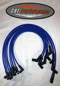 Bbc Chevy 396 427 454 502 Hei Blue 8mm Spark Plug Wires 45 Degree Ends Usa