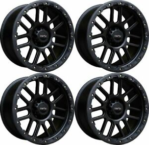 Set 4 17 Vision 111 Nemesis Black Wheels 17x9 6x5 5 12mm Chevy Gmc Tahoe 6 Lug