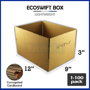 1 100 12x9x3 Ecoswift Cardboard Packing Mailing Shipping Corrugated Box Cartons