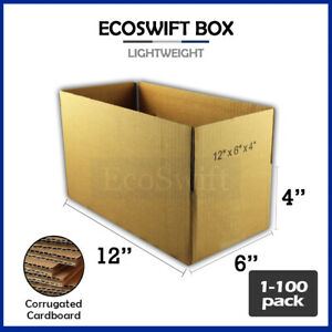 1 100 12x6x4 Ecoswift Cardboard Packing Mailing Shipping Corrugated Box Cartons