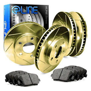 2012 2016 Ford Focus Full Kit Gold Slotted Brake Disc Rotors Ceramic Brake Pad