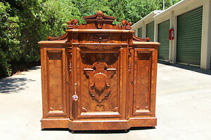 Spectacular Heavily Burled Walnut Victorian Marble Top Cabinet Sideboard Ca 1850