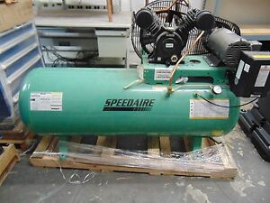 Speedaire 3 Phase Horizontal Tank Mounted 3hp Electric Air Compressor 80 Gal