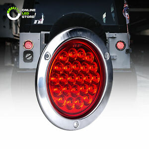 Ols 4 Round 24 Led Tail Light With Stainless Steel Bezel Red