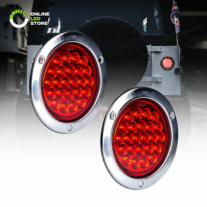 2pc 4 Red Round 24 Led Trailer Tail Lights Stainless Steel Bezel Brake